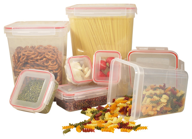 14-Piece Food Container Set With Square Lock and Seal Lids contemporary-food-containers-and-storage