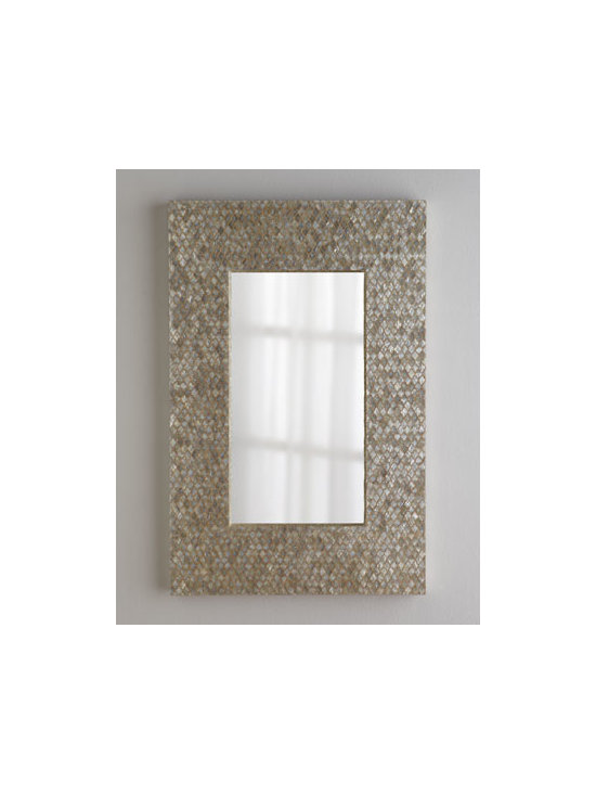 """Horchow - Diamond-Motif Capiz Mirror - Like jewelry for the wall. A mosaic of diamond-shaped capiz shell forms a shimmering frame for this rectangular mirror. And its slender profile makes it perfect for narrower spaces. Made of capiz shell and wood composite. 26""""W x 2""""D x 40""""T. Imported...."""