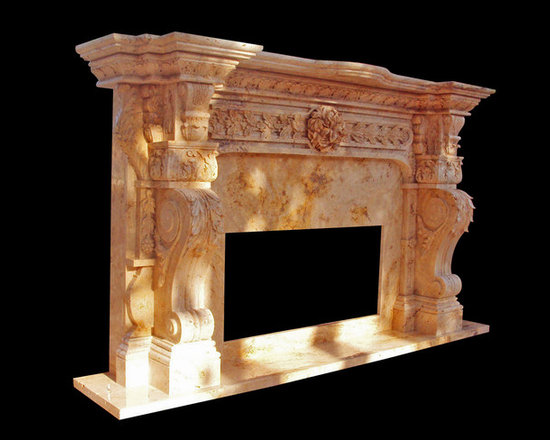 Hand Carved Italian Marble Fireplace Surround Custom Designed Travertine Marble. - Bloss Stoneworks Co.