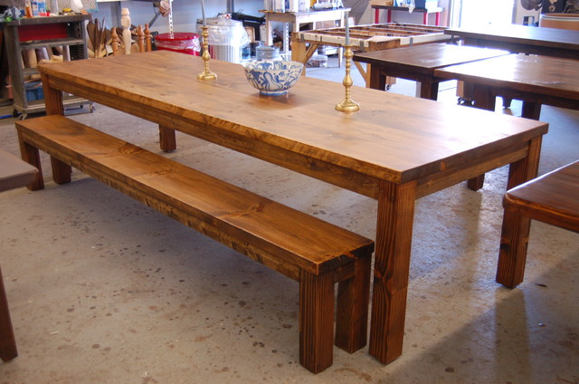 large parsons style farm table with bench modern dining room