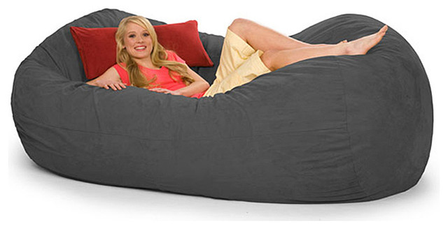 Oval charcoal grey microfiber and foam 8 foot bean bag for Bean bag chaise lounge