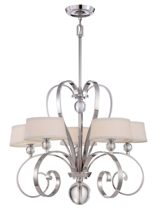 "Quoizel Uptown Madison Manor 29"" 5-Light Chandelier - Quoizel Uptown Madison Manor Chandelier in Imperial Silver Finish. Steel Material. Dimensions: 25 1/2"" High, 29"" in Diameter."