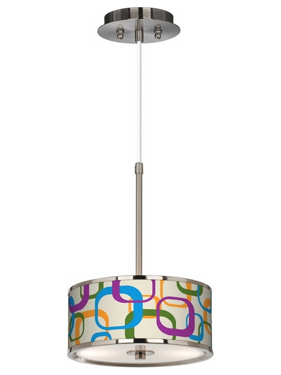 """Giclee Glow - Contemporary Retro Square Scramble Giclee Glow 10 1/4"""" Wide Pendant Light - Add warmth and style to any room with this sophisticated and compact pendant light. The design features an exclusive pattern custom giclee printed on a translucent fabric shade. This high-quality material allows warm light to shine through the shade illuminating the pattern and creating a spectacular look. A white acrylic diffuser at the bottom prevents glare and provides even lighting. Includes energy efficient CFL bulbs. This stylish fixture is custom made to order. Brushed steel finish. Exclusive giclee printed pattern. Custom printed translucent fabric shade. 1/8"""" thick acrylic diffuser. Includes two 13 watt GU24 CFL bulbs. 10"""" wide. 14 3/4"""" high. Shade is 10"""" wide 4 1/4"""" high. Canopy is 6"""" wide. Includes 10' of adjustable cord. U.S. Patent # 7347593.  Brushed steel finish.  Exclusive giclee printed pattern.  Custom printed translucent shade.  1/8"""" thick acrylic diffuser.  Includes two 13 watt GU24 CFL bulbs.  10 1/4"""" wide.  14 3/4"""" high.  Shade is 10 1/4"""" wide 4 1/4"""" high.  Canopy is 6"""" wide.  Includes 10' of adjustable cord."""