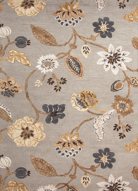 Transitional Floral Pattern Gray /Black Wool/Silk Tufted Rug - BL70, 3.6x5.6 contemporary-rugs