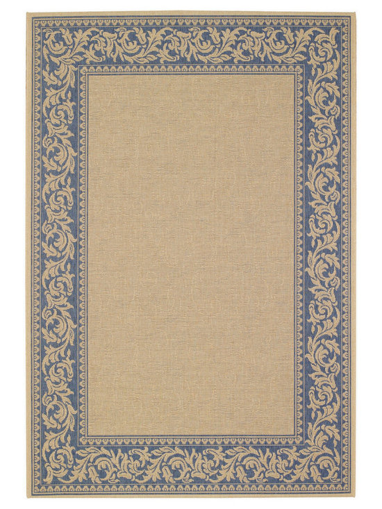 """Finesse Scroll rug in Ocean Blue - An esteemed """"Capel Anywhere"""" rug collection woven on precision machine looms in Europe. These versatile rugs can be used in high traffic areas indoors - like kitchens and sunrooms - or to dress up covered porches and decks outside."""