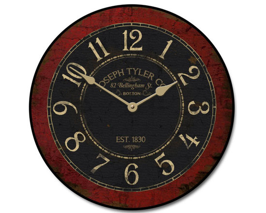 """J Tyler - Bellingham Street Wall Clock, 24"""" - Distressed Red and Black with Brown undertones this clock has become"""