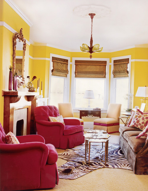 eclectic living room Color Combinations: Mellowing Yellow