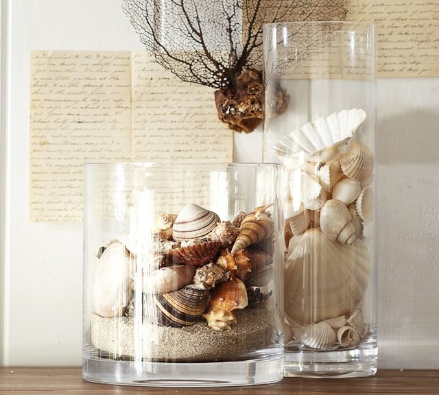 Beach shell vase filler tropical home decor by for Bathroom decor vases
