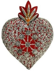 Religious Figures Collection - LargeRed Heartwith Silver Milagros - MIL01C