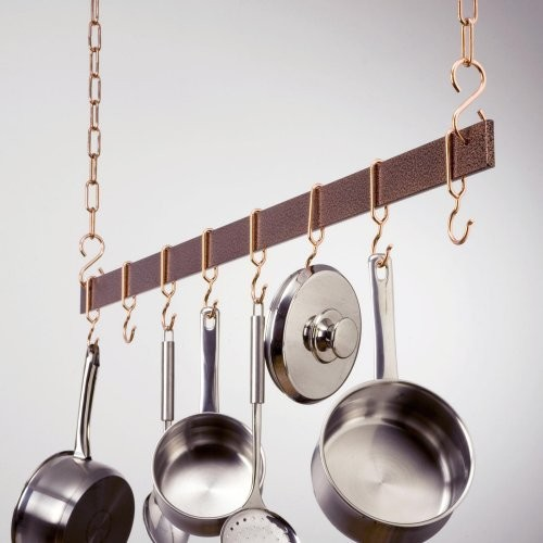 Hammered Copper Hanging Bar Pot Rack Contemporary Pot Racks By Hayneedle