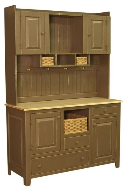 2-Pc Hutch in Ferret Brown Finish - Contemporary - China Cabinets And Hutches - by ShopLadder