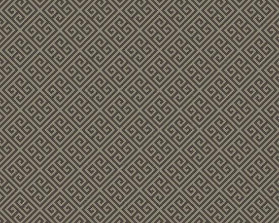 Chocolate Brown Greek Key Vibe Wallpaper -