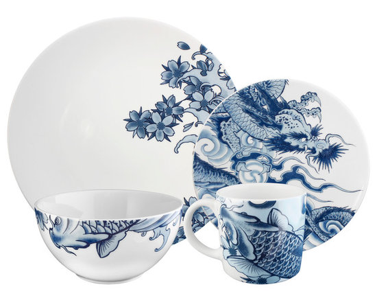 Ink Dish - Paul Timman Irezumi 16-piece Dinnerware Set - Unlike traditional blue and white china patterns, each piece in this updated set zooms in on one focal point: a fish, dragon or cherry blossoms. Imagine a tablescape that mixes and matches this contemporary set with classic pieces — gorgeous!