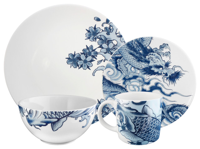 Paul Timman Irezumi 16 Piece Dinnerware Set Asian