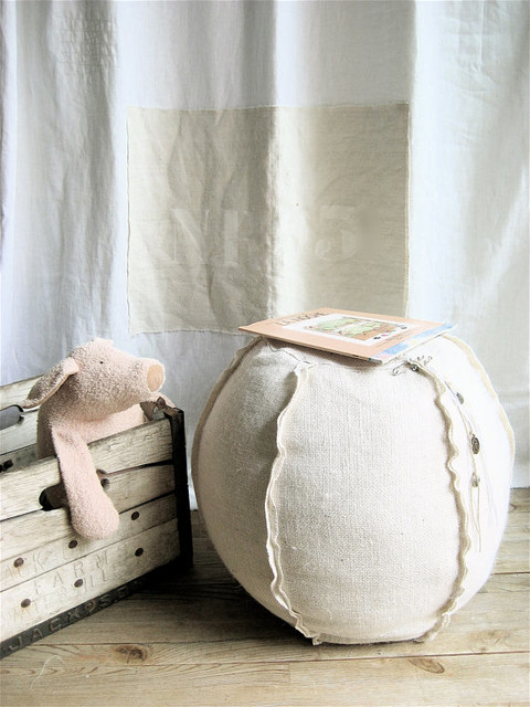 Burlap Pouf by Lovintage Finds contemporary-floor-pillows-and-poufs
