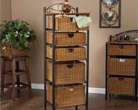 Holly & Martin Argyle Iron/Wicker Five-Drawer Unit -