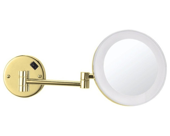 Nameek's - Wall Mounted Lighted Makeup Mirror, Gold - This 8 inch round, wall mounted mirror is a single face makeup mirror.