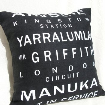 Canberra Bus Scroll Cushion Cover contemporary pillows