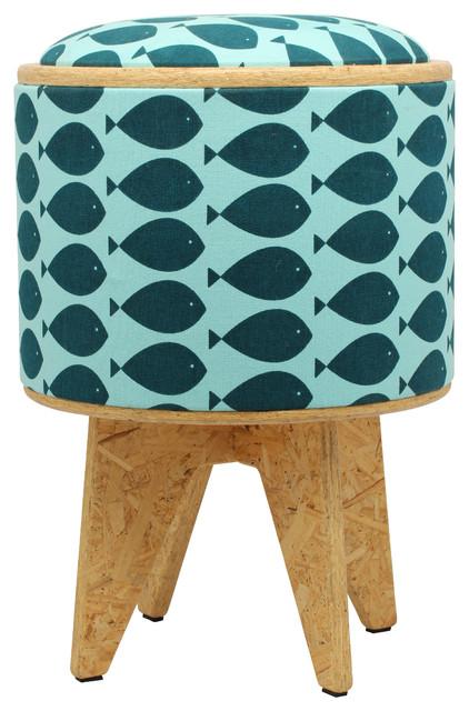 Fish Turquoise Stool Ottoman beach-style-footstools-and-ottomans