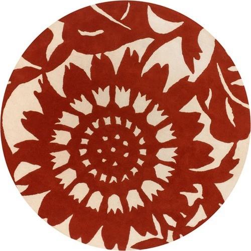 Tufted Pile Persimmon/Cream Zinnia Rug modern-rugs