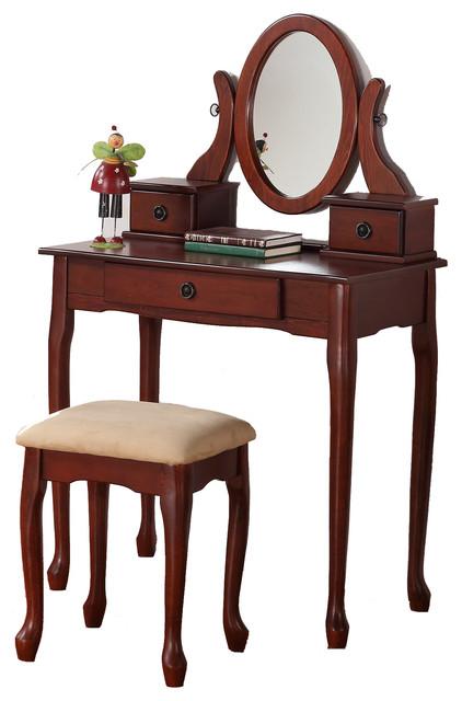 Queen Anne Dainty Make Up Table Vanity Set 3 Drawer Oval Swivel Mirror Cherr