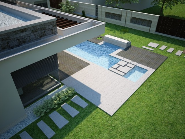 modern pool Fodor house
