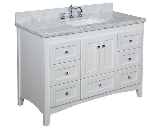 Kitchen Bath Collection - Abbey 48-in Bath Vanity (Carrara/White) - This bathroom vanity set by Kitchen Bath Collection includes a white Shaker-style cabinet with soft close drawers and self-closing door hinges, Italian Carrara marble countertop, single undermount ceramic sink, pop-up drain, and P-trap. Order now and we will include the pictured three-hole faucet and a matching backsplash as a free gift! All vanities come fully assembled by the manufacturer, with countertop & sink pre-installed.