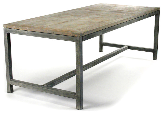 Abner Industrial Modern Rustic Bleached Oak Gray Dining Table transitional-dining-tables