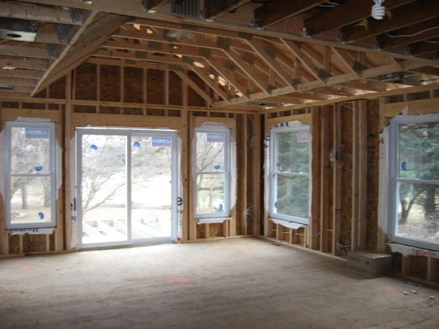 Framing Stage View Of Living Room With Cathedral Ceiling