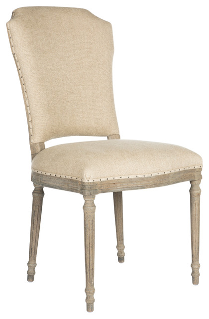 Pair of camilla french country distressed grey upholstered