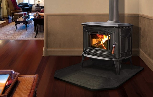 Enviro Boston 1700 Series 30'' x 31'' Cast Iron Freestanding Wood Stove modern-indoor-fireplaces