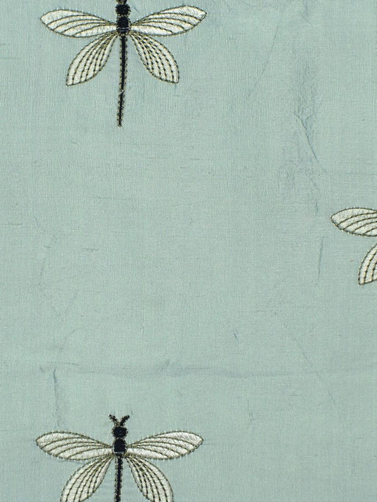 Blue Custom Made Embroidered Dupioni Silk Curtains - Made of the finest Dupioni silk, these Halo curtains has a soft and smooth look with sheen. Plus the lovely dragonfly patterns, the design is simple but full of country-side romance.
