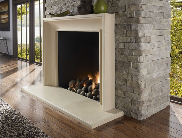 gallery for modern stone fireplace surround