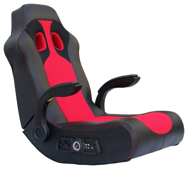 Ace Bayou X-Rocker Vibe Sound Chair with Arms in Black/Red eclectic-living-room-chairs
