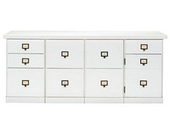 Original Home Office 4-Cabinet Credenza with Wood Top traditional-storage-units-and-cabinets