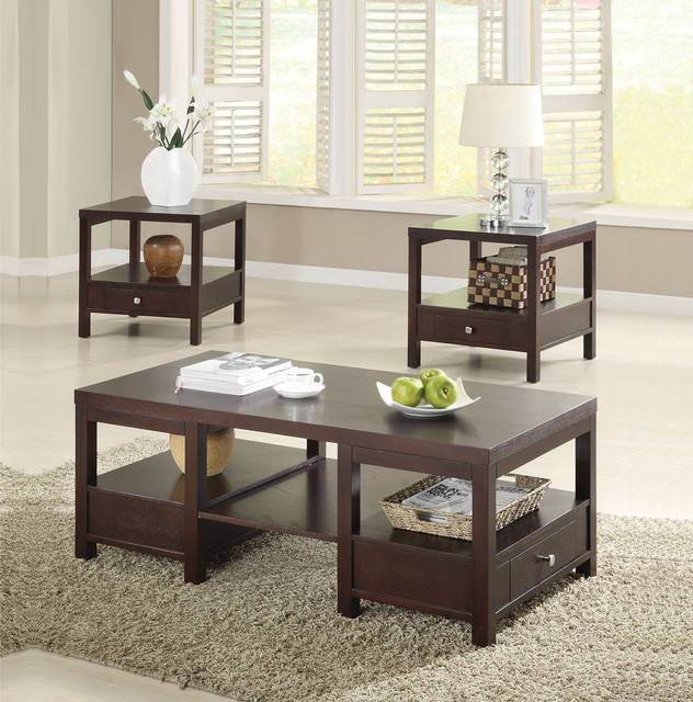 Brooklyn Espresso 3 PC Coffee And End Table Set
