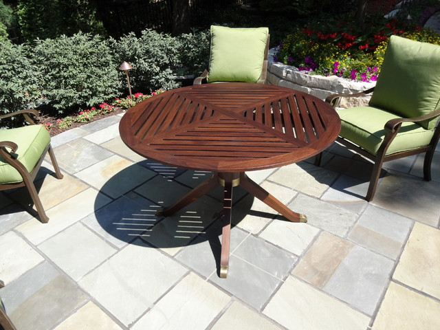 Teak & brass outdoor tables contemporary-outdoor-dining-tables