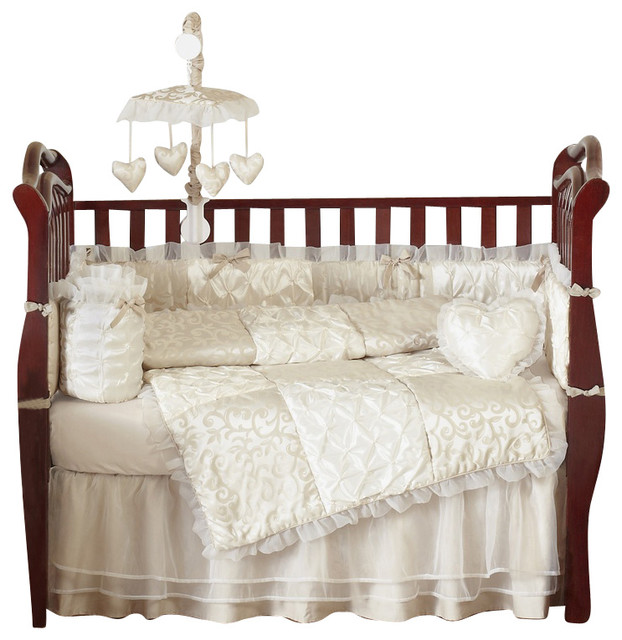 Champagne And Ivory Victoria 9 Piece Baby Crib Bedding Set