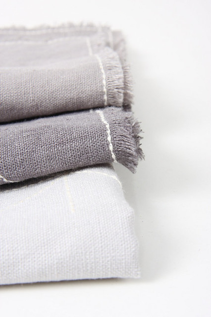 Gray Linen Napkin With Embroidery by Maalikaa - contemporary