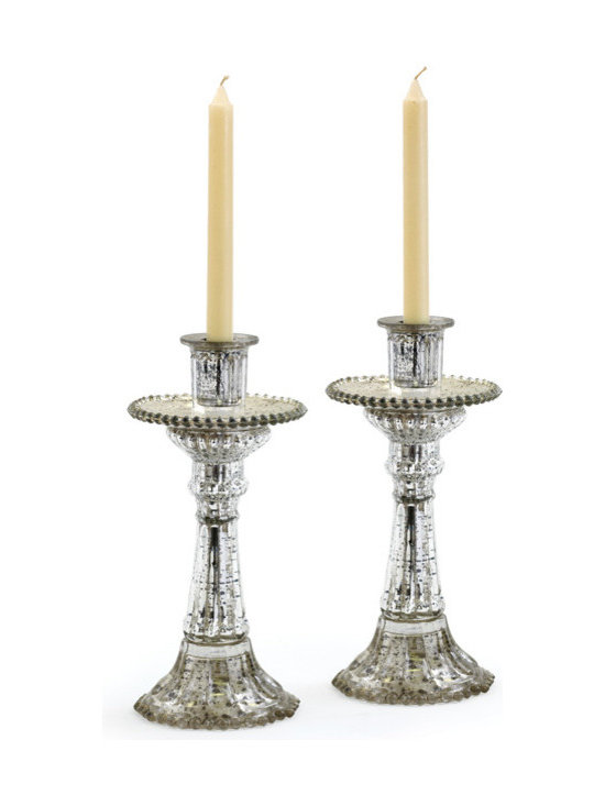 Go Home - Glass Fountain Candleholders - Lovely Fountain Candleholders nicely crafted from glass and has antique silver finish.This pair of sleek candlholders will bring an instant dash of deco glamour to a setting.It is sold as pair.