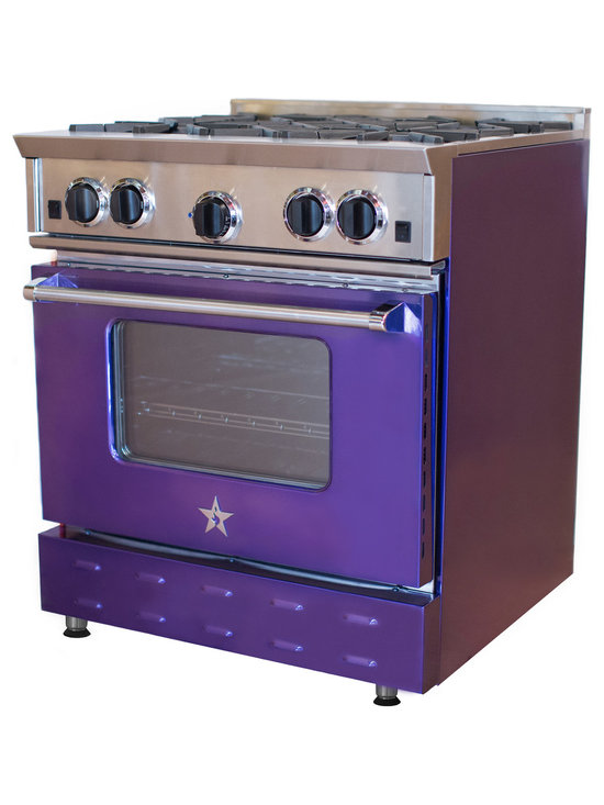 "BlueStar 30"" Range in  Amethyst - Bold, vibrant, high-volume colors are a big trend throughout the home. The new Jewel Tones collection from BlueStar® brings to life the rich, high-gloss color of real gems that can be seen on fashion runways and in home décor. With the six new Jewel Tones hues, take personalization in the kitchen to the next level."