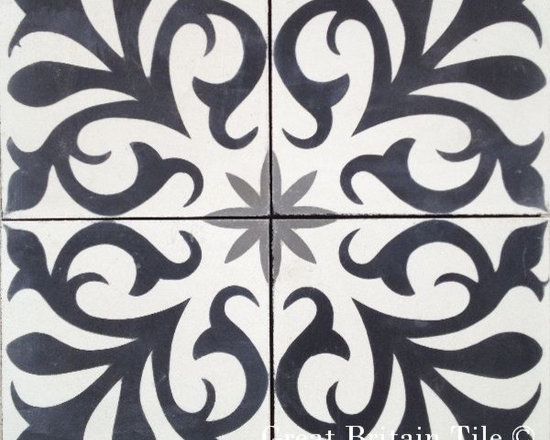 Cement Tile - Patterns - In stock cement tile - nantes pattern - black, white, charcoal - 8x8