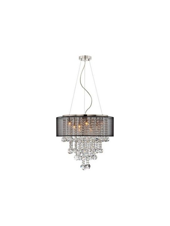 Black Shade Brushed Nickel Crystal Chandelier -