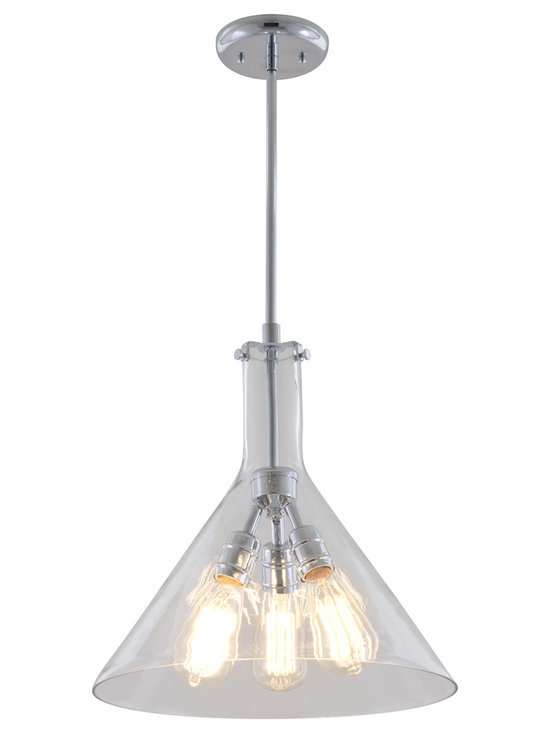 DVI Lighting - Claire Pendant - Claire Pendant features Clear glass with a Chrome or Buffed Nickel finish shaped to resemble a beaker. Available in small, medium, and large sizes. 100 watt, 120 volt Edison A-Shape type Medium base incandescent bulbs are required, but not included. Small: 9.75 inch width x 11.25 inch height x 53 inch length. Medium: 12 inch width x 13.5 inch height x 55.5 inch length. Large: 15 inch width x 15.25 inch height x 56.75 inch length.