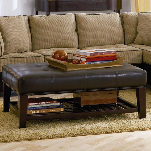 Ottomans Contemporary Faux Leather Tufted Ottoman With
