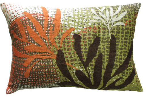 ECCO 13x20 Rust Brown Leaf Cotton Pillow contemporary-bed-pillows