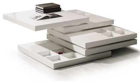 MODERN WHITE SQUARE COFFEE TABLE WITH STORAGE SETO Modern Coffee Tables Other Metro By