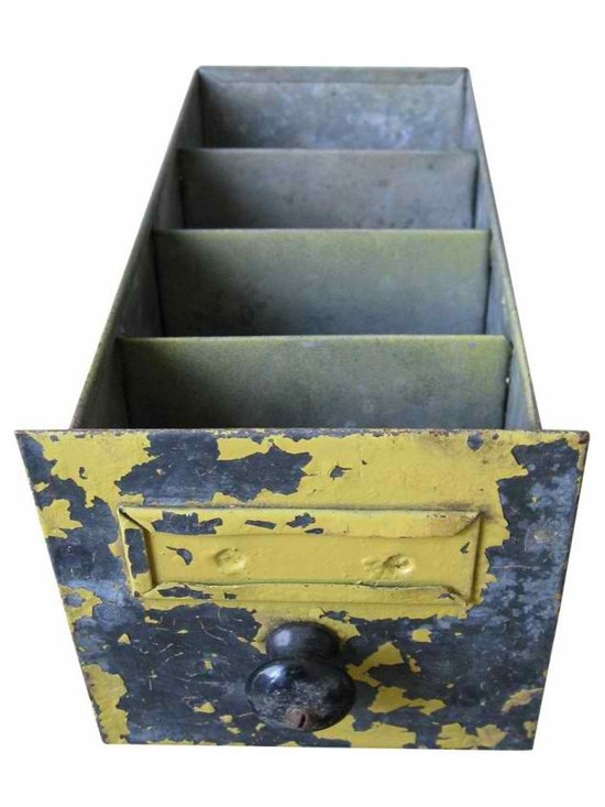 Yellow Industrial Drawer - Yellow painted front is chipped and has loose paint. The interior has wear and patina from use and age, but still very functional for creative storage and organizing solution on a desk or work table.
