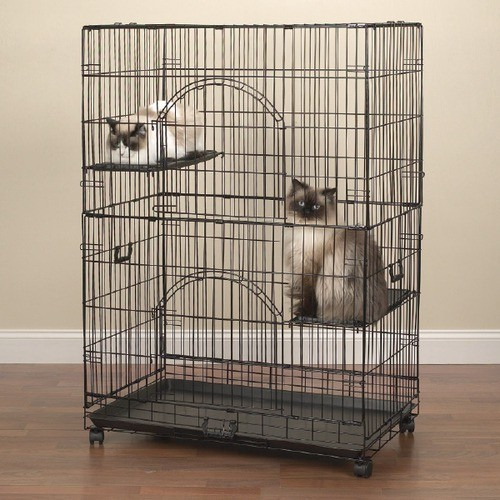 Easy Cat Cage in Black - Modern - Cat Furniture - by Wayfair