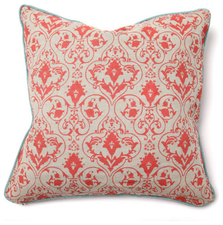 Illusion Tuscan Pillow in Red Gate with Aqua modern-decorative-pillows